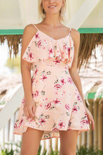 Casual Sleeveless Floral Print Mini Dress In Pink