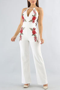 White Floral Print Sleeveless Jumpsuits