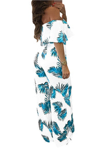 Short Sleeves Off Shoulder Floral Print Jumpsuits