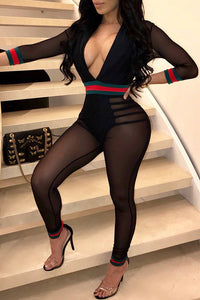 Black Long Sleeves Mesh Jumpsuit