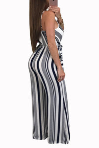 Sexy Fashion Sleeveless Striped Jumpsuit