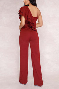 Elegant Sleeveless Irregular Flared Jumpsuit