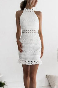 Sexy Elegant Lace Halter Neck Bodycon Dress