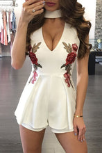 Stylish Casual Floral Embroidered Design Romper