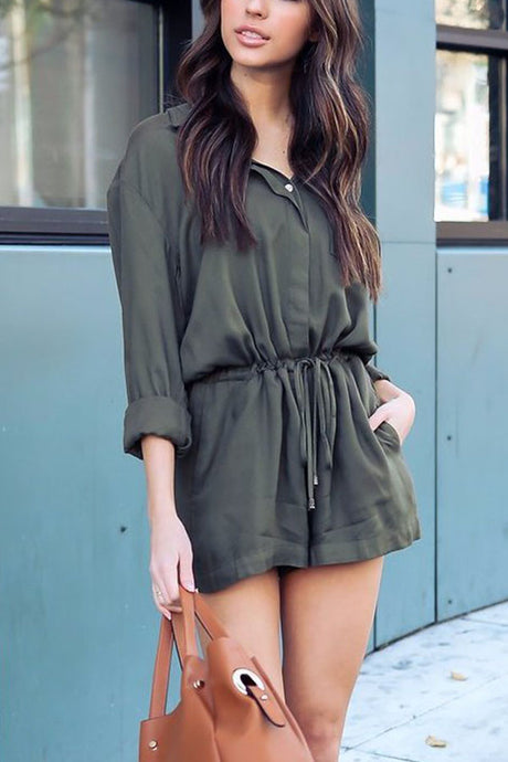 8e8308a5bf Stylish Casual Short Sleeves Solid Romper