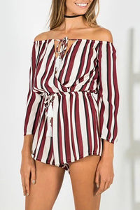 Casual Stripes Off Shoulder Drawstring Romper