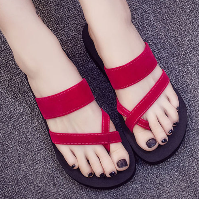 Plain Velvet  Peep Toe  Beach Casual Slippers
