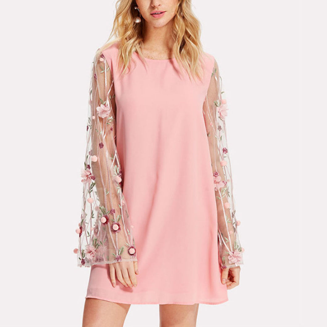 Pink Sexy Embroidered Long Sleeves Mini Dress