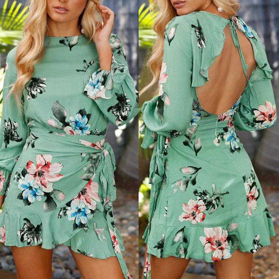 Stylish Floral Print Lace-Up Long Sleeves Mini Dress