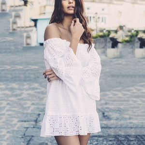 Sexy Off Shoulder Hollow Out Mini Dress