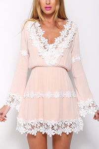 Elegant V Neck Lace Long Sleeves Mini Dress