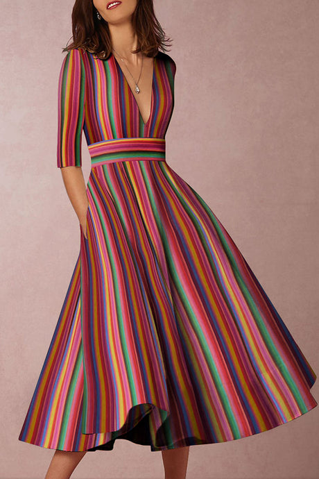 Multicolor Sexy Deep V-Neck Maxi Skater Dress