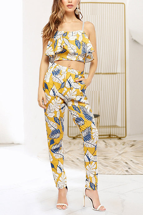 Sexy Floral Print Sleeveless Wide Pants Set