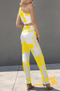 Colorblock One Shoulder Cropped Wide Pants Set