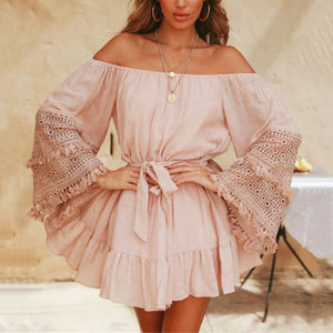 Sexy Fashion Pink Lace Off Shoulder Mini Dress