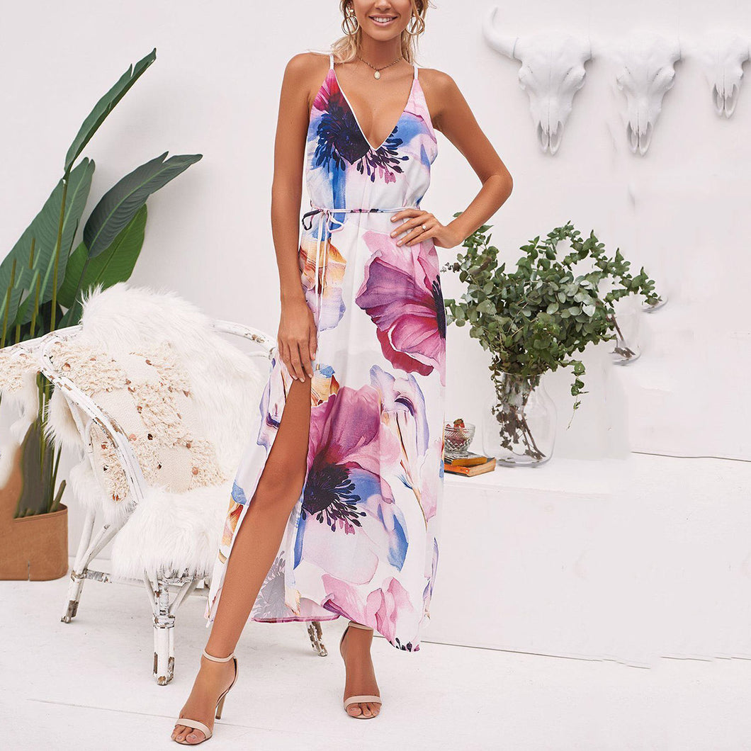 Sexy Fashion Floral Print Vacation Maxi Dress