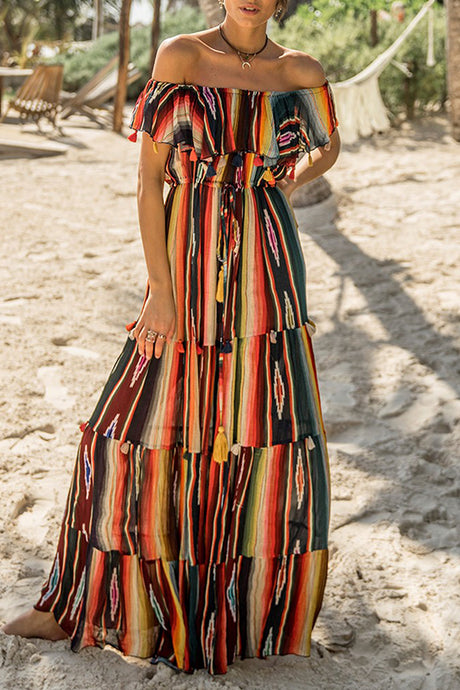 Sexy Fashion Multi Off Shoulder Stripe Maxi Dress