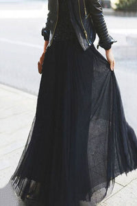 Fashion Pure Color High Waist Pleated Skirt