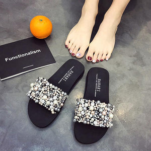 Fashion Pure Color Pearl Non-Slip Beach Sandals
