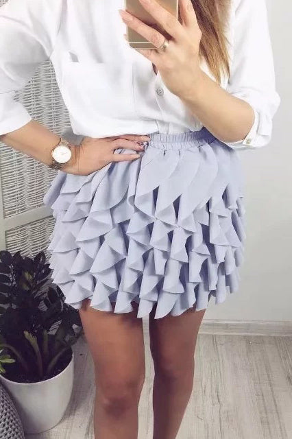 Wave Overlapping Short Half Skirt