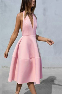 Sexy Pure Color Halter Backless Skater Dress