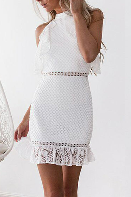 Sexy White Lace Bodycon Mini Dress