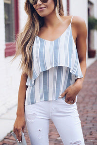 Sexy Stripe Sleeveless Blouses T-Shirts