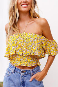Yellow Long Sleeves Floral Print T-Shirt Blouses