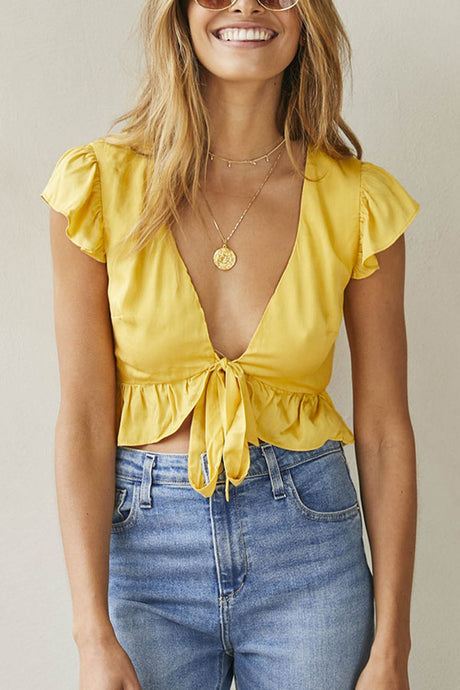 Sexy Yellow Short Sleeves T-Shirt Blouses