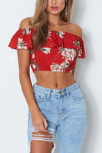 Sexy Off Shoulder Floral Print T-Shirt Blouses