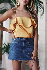 Sexy Yellow Sleeveless T-Shirt Blouses