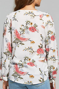 V Neck Cutout Floral Printed Blouses