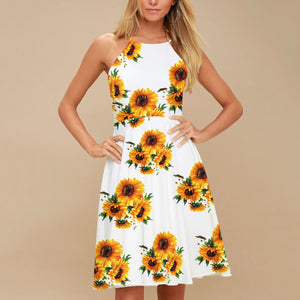 Floral Print Elegant Sleeveless Vacation Mini Dress