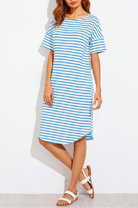 Stripe Short  Sleeve Irregular Dress