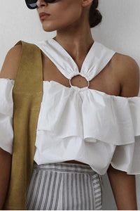 Sexy White Off Shoulder Blouses T-Shirt
