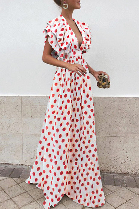 Sexy V Neck Short Sleeves Wave Point Maxi Dress
