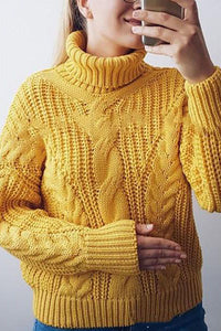 Fashion Pattern Turtleneck Sweater