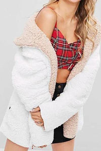 Casual Winter Plain Lamp Woolen Keep Warm Coat