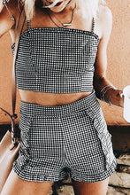 Stylish Grid Two-Piece Sleeveless Romper Suits
