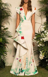 Fashion Fluted Floral Print Fishtail Evening Dress