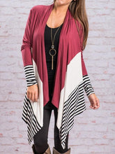 Fashion Striped Color Block Cardigan