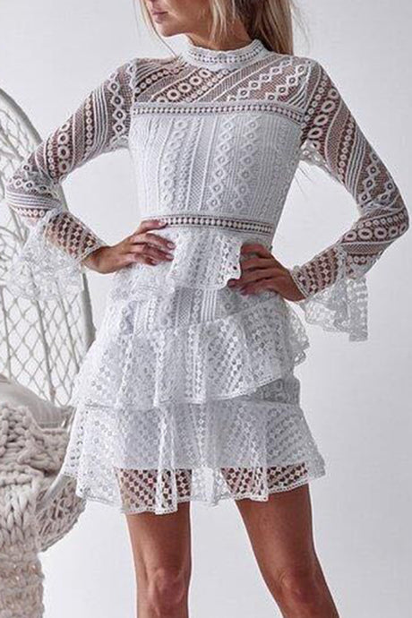 3ac642ba46 Sexy Lace Hollow Out Layered Mini Dresses