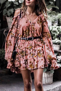 Sexy Floral Printed Halter Off Shoulder Mini Dress