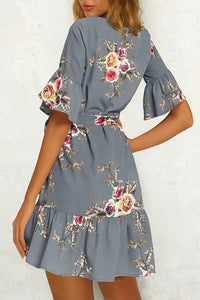 Fashion Floral Printed Casual Vacation Mini Dresses