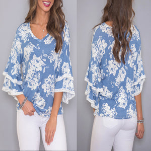 Fashion Bell Sleeve Floral Print T-Shirt Blouse