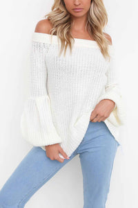 Fashion Boat Neck Pure Color Sweater