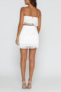 Sexy White Tassel Sleeveless Two-Piece Suit Mini Dress