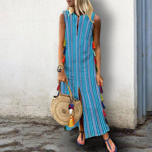 Cotton/Linen Printed Striped Tassel Casual Vintage Dress