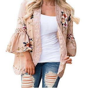 Sexy Casual Floral Flare Long Sleeve Cardigan