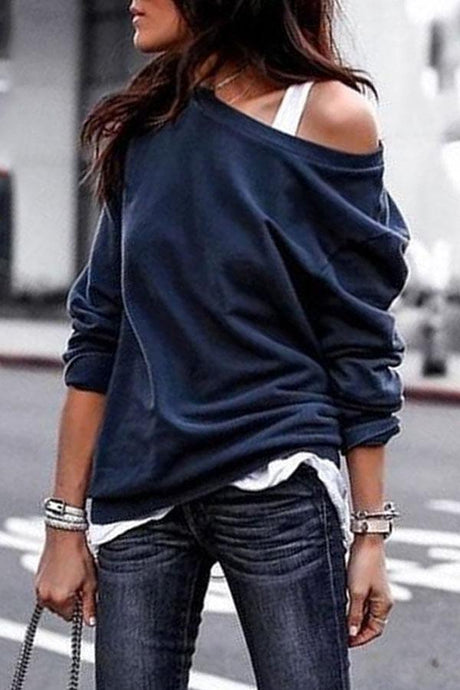 One Shouder Casual Soft Long Sleeve T-Shirt